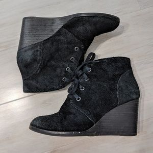 Lucky Brand Black Suede Wedge Lace-up Shoes